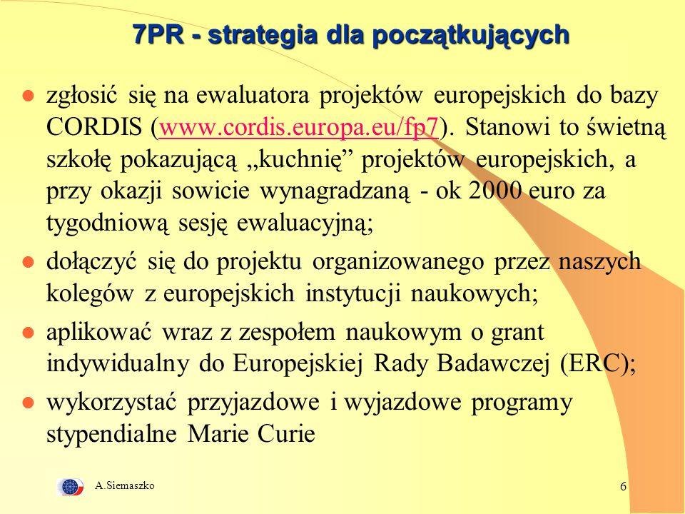 A.Siemaszko 7 7PR - strategia dla doświadczonych l uaktywnić działania lub utworzyć nowe Centra Doskonałości (CD) zogniskowane na priorytetowej tematyce badawczej; przygotować się do konkursu wspierającego Centra - Research Potential