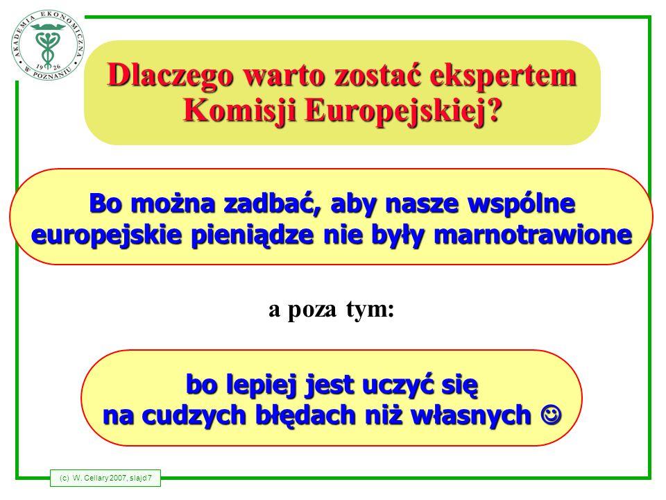 (c) W. Cellary 2007, slajd 7 Dlaczego warto zostać ekspertem Komisji Europejskiej? bo lepiej jest uczyć się na cudzych błędach niż własnych bo lepiej
