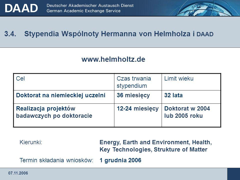 07.11.2006 3.3.Stypendia Wspólnoty Naukowej im.