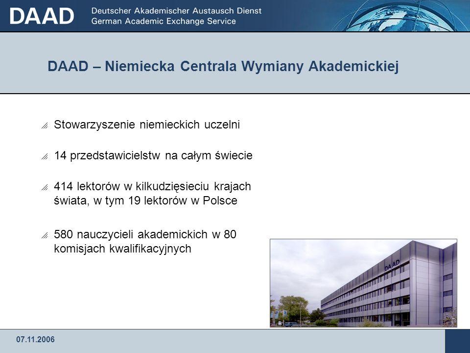 Niemiecka Centrala Wymiany Akademickiej: Stypendia dla naukowców na rok akademicki 2007/2008 07.11.2006 Dr.