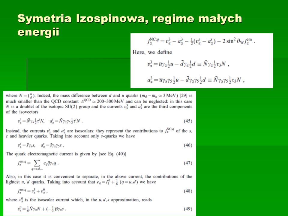 Symetria Izospinowa, regime małych energii