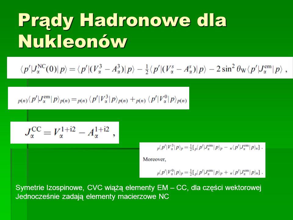 Prądy Hadronowe dla Nukleonów Symetrie Izospinowe, CVC wiążą elementy EM – CC, dla części wektorowej Jednocześnie zadają elementy macierzowe NC