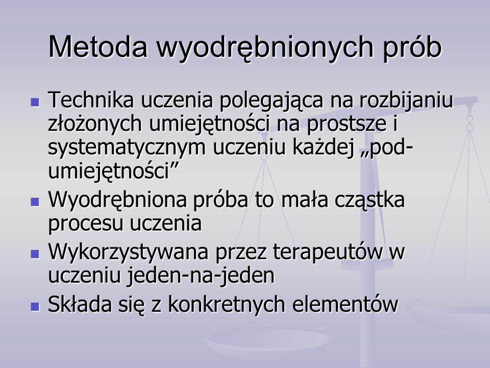 Metoda wyodrębnionych prób Elementy wyodrębnionej próby Elementy wyodrębnionej próby Sygnał od nauczyciela Sygnał od nauczyciela Podpowiedź nauczyciela Podpowiedź nauczyciela Reakcja ucznia Reakcja ucznia Konsekwencja wykonanej reakcji Konsekwencja wykonanej reakcji Przerwa między kolejnymi próbami Przerwa między kolejnymi próbami