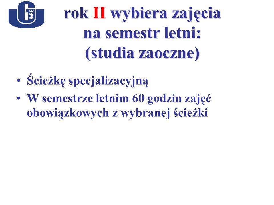 rok II wybiera zajęcia na semestr letni: (studia zaoczne) Ścieżkę specjalizacyjną W semestrze letnim 60 godzin zajęć obowiązkowych z wybranej ścieżki