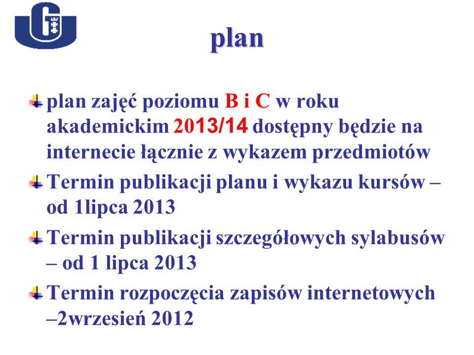 plan plan zajęć poziomu B i C w roku akademickim 20 13/14 dostępny będzie na internecie łącznie z wykazem przedmiotów Termin publikacji planu i wykazu