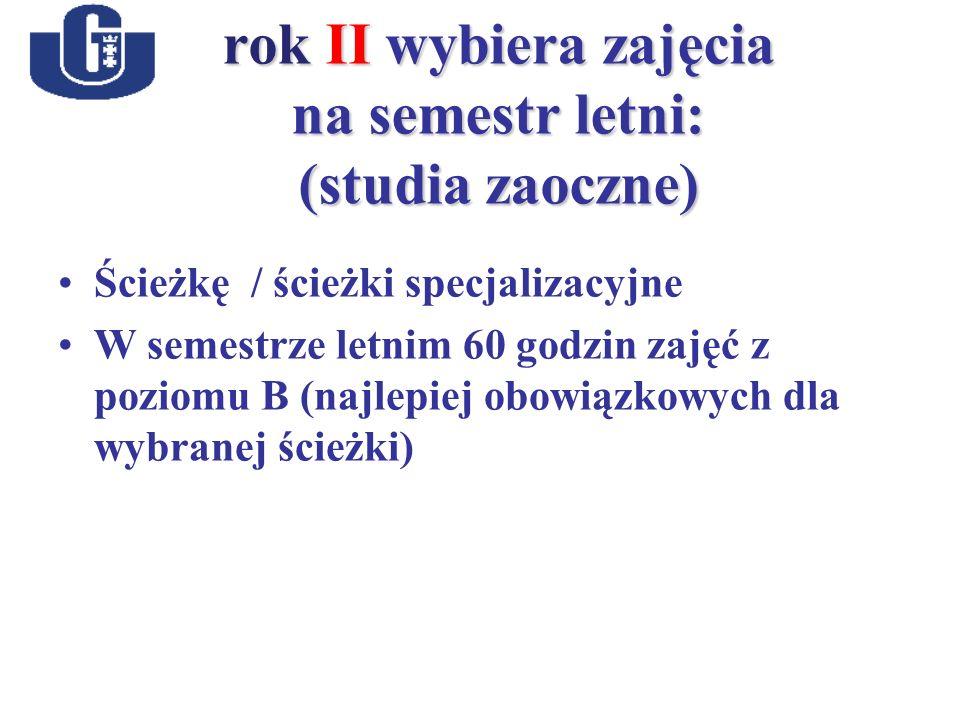 rok II wybiera zajęcia na semestr letni: (studia zaoczne) Ścieżkę / ścieżki specjalizacyjne W semestrze letnim 60 godzin zajęć z poziomu B (najlepiej