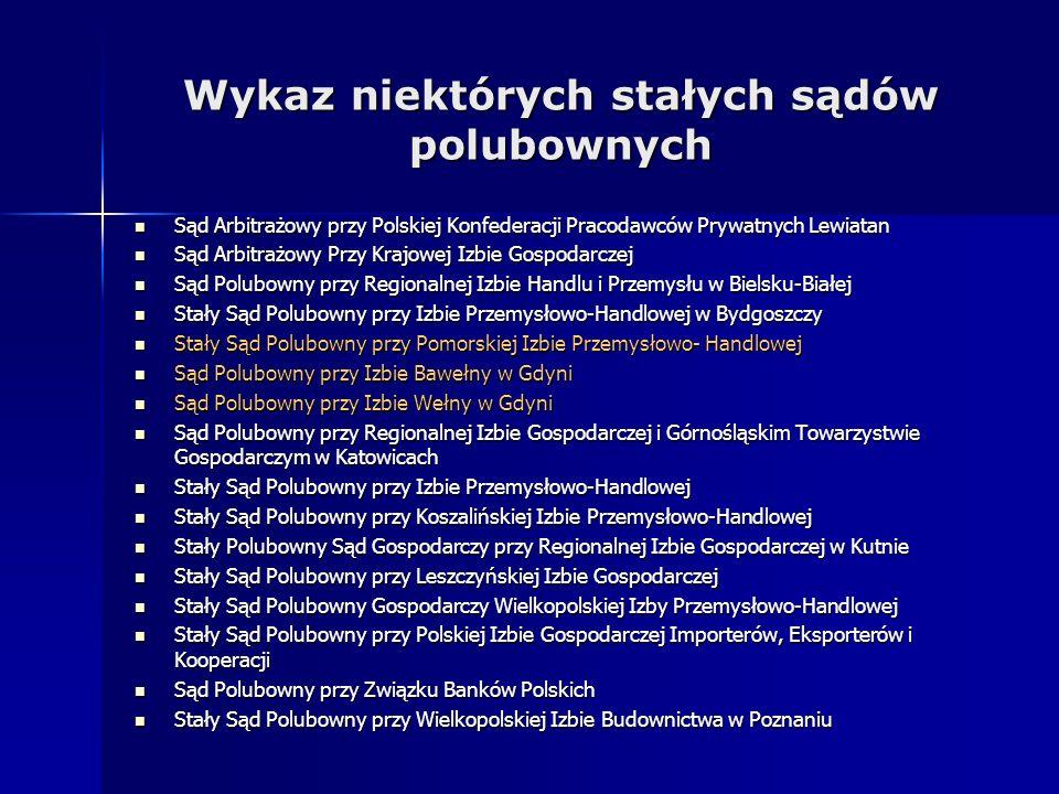 Wykaz niektórych stałych sądów polubownych Sąd Arbitrażowy przy Polskiej Konfederacji Pracodawców Prywatnych Lewiatan Sąd Arbitrażowy przy Polskiej Ko