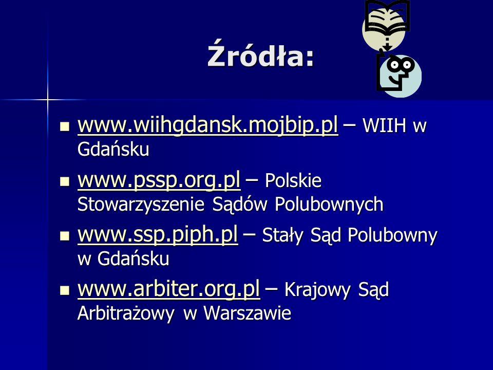 Źródła: www.wiihgdansk.mojbip.pl – WIIH w Gdańsku www.wiihgdansk.mojbip.pl – WIIH w Gdańsku www.wiihgdansk.mojbip.pl www.pssp.org.pl – Polskie Stowarz