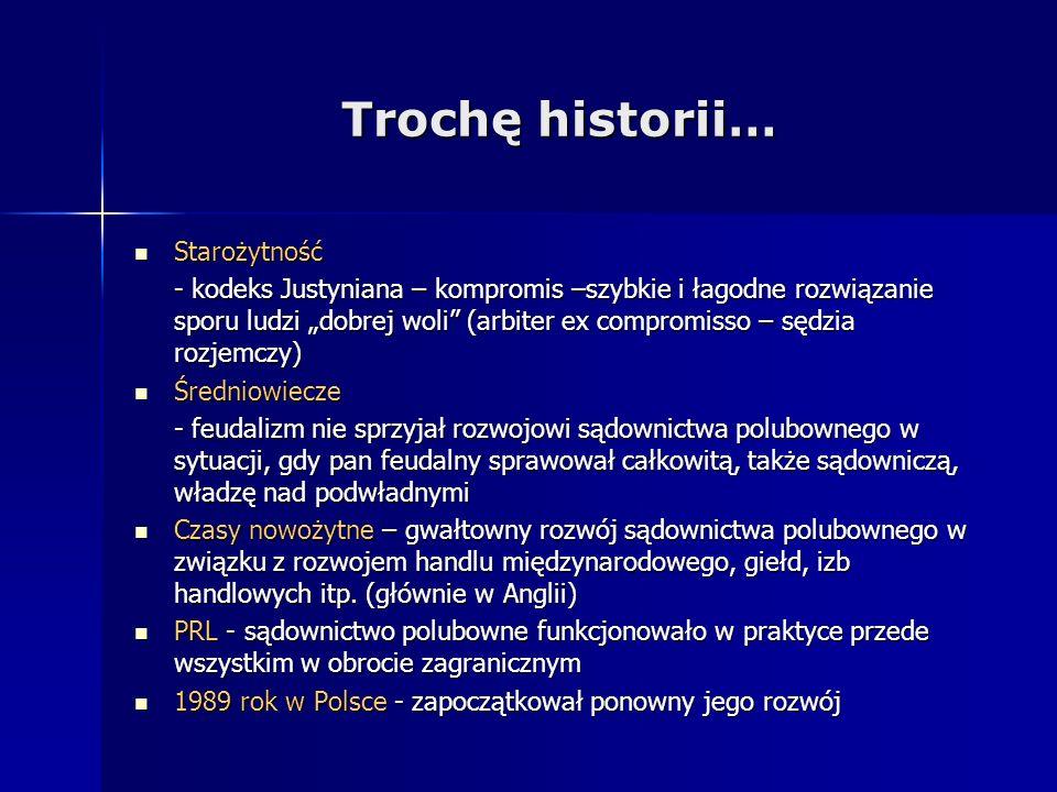 Trochę historii… Starożytność Starożytność - kodeks Justyniana – kompromis –szybkie i łagodne rozwiązanie sporu ludzi dobrej woli (arbiter ex compromi