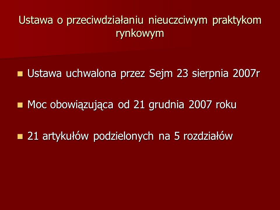 Ustawa uchwalona przez Sejm 23 sierpnia 2007r Ustawa uchwalona przez Sejm 23 sierpnia 2007r Moc obowiązująca od 21 grudnia 2007 roku Moc obowiązująca