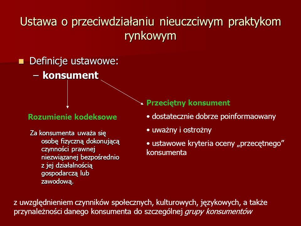 Ustawa o przeciwdziałaniu nieuczciwym praktykom rynkowym Definicje ustawowe: Definicje ustawowe: –konsument Przeciętny konsument dostatecznie dobrze p