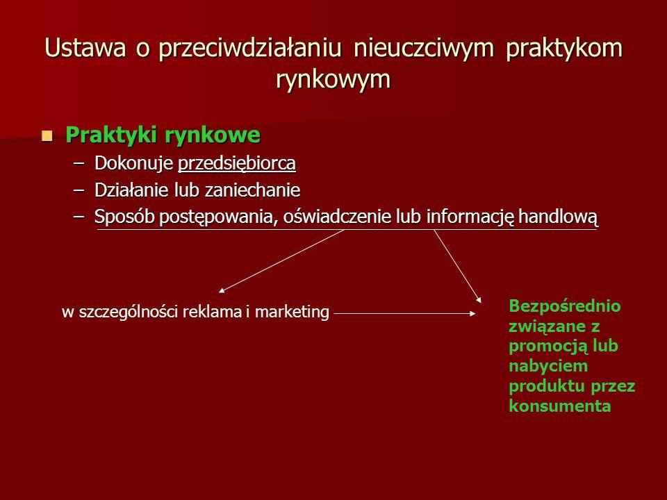Ustawa o przeciwdziałaniu nieuczciwym praktykom rynkowym Praktyki rynkowe Praktyki rynkowe –Dokonuje przedsiębiorca –Działanie lub zaniechanie –Sposób