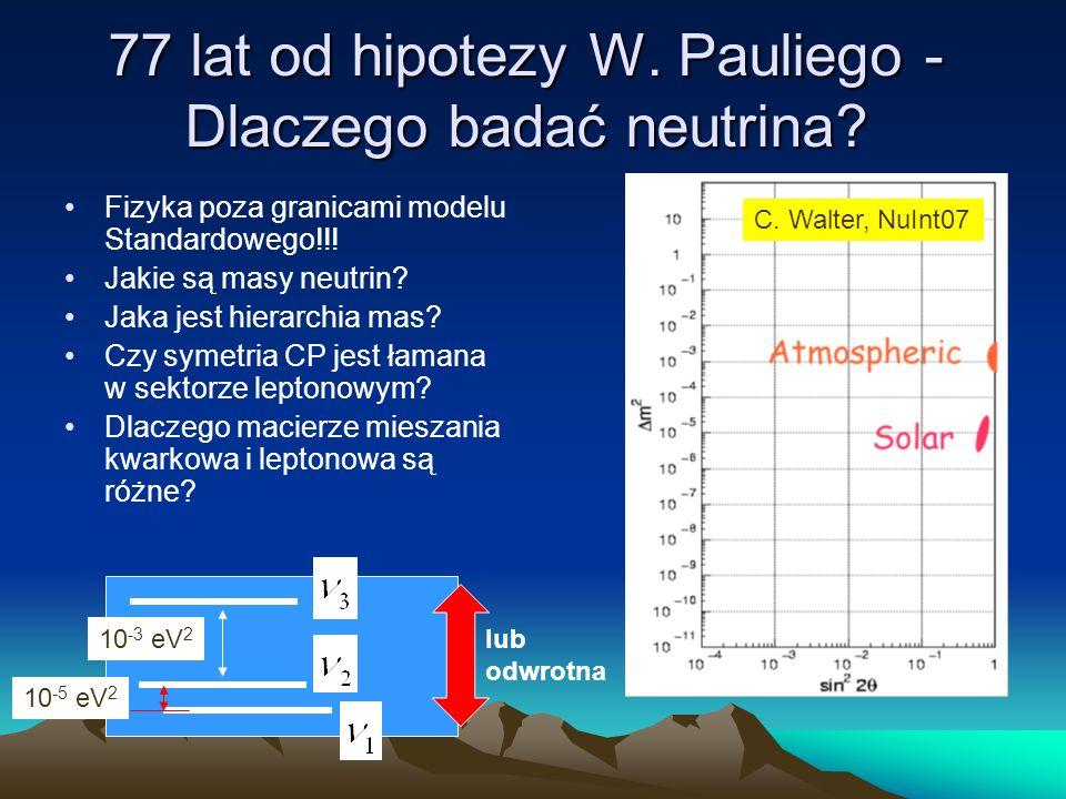 77 lat od hipotezy W. Pauliego - Dlaczego badać neutrina? Fizyka poza granicami modelu Standardowego!!! Jakie są masy neutrin? Jaka jest hierarchia ma