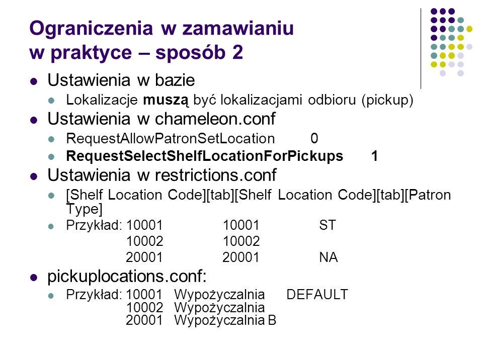 Ograniczenia w zamawianiu w praktyce – sposób 2 Ustawienia w bazie Lokalizacje muszą być lokalizacjami odbioru (pickup) Ustawienia w chameleon.conf Re