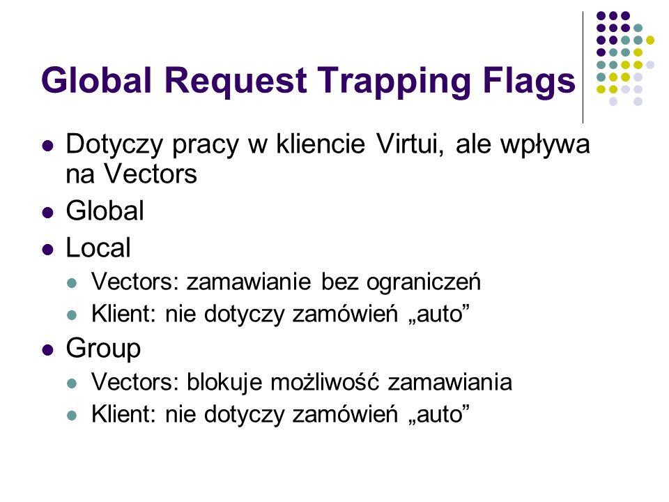 Global Request Trapping Flags Dotyczy pracy w kliencie Virtui, ale wpływa na Vectors Global Local Vectors: zamawianie bez ograniczeń Klient: nie dotyc