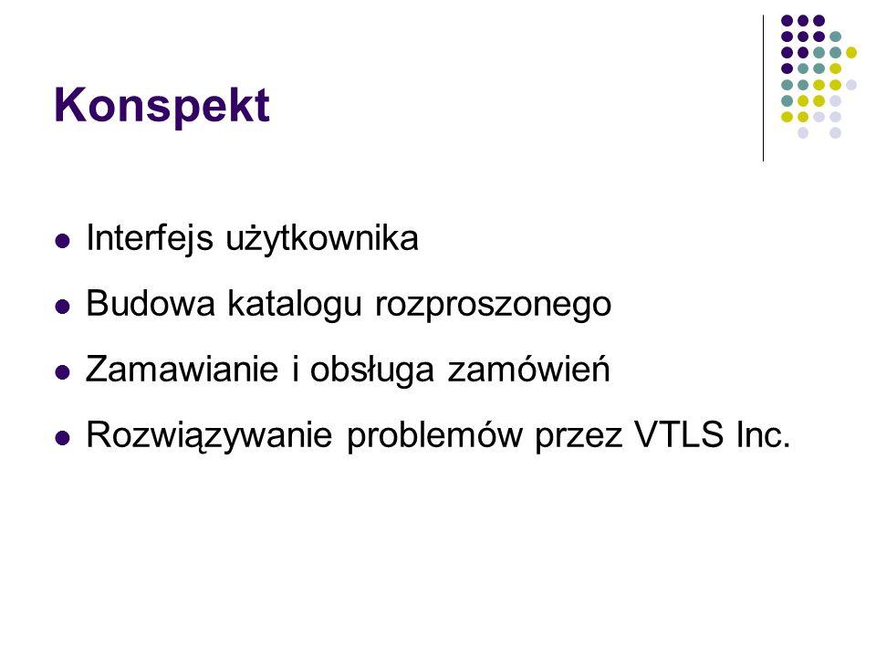 Konspekt Interfejs użytkownika Budowa katalogu rozproszonego Zamawianie i obsługa zamówień Rozwiązywanie problemów przez VTLS Inc.