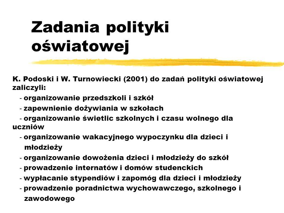 K. Podoski i W. Turnowiecki (2001) do zadań polityki oświatowej zaliczyli: - organizowanie przedszkoli i szkół - zapewnienie dożywiania w szkołach - o