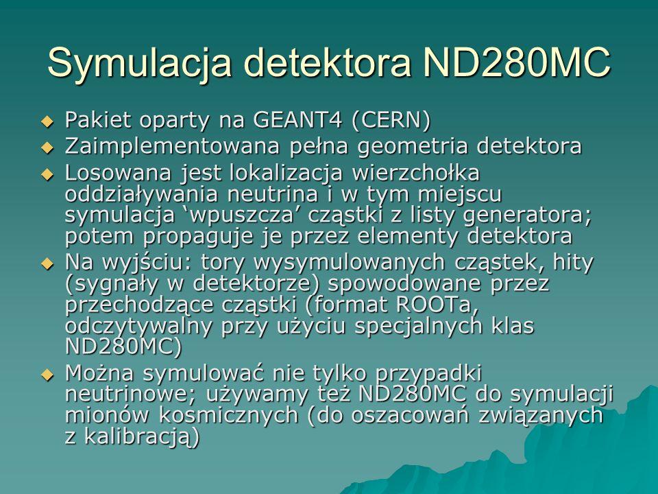 Symulacja detektora ND280MC Pakiet oparty na GEANT4 (CERN) Pakiet oparty na GEANT4 (CERN) Zaimplementowana pełna geometria detektora Zaimplementowana pełna geometria detektora Losowana jest lokalizacja wierzchołka oddziaływania neutrina i w tym miejscu symulacja wpuszcza cząstki z listy generatora; potem propaguje je przez elementy detektora Losowana jest lokalizacja wierzchołka oddziaływania neutrina i w tym miejscu symulacja wpuszcza cząstki z listy generatora; potem propaguje je przez elementy detektora Na wyjściu: tory wysymulowanych cząstek, hity (sygnały w detektorze) spowodowane przez przechodzące cząstki (format ROOTa, odczytywalny przy użyciu specjalnych klas ND280MC) Na wyjściu: tory wysymulowanych cząstek, hity (sygnały w detektorze) spowodowane przez przechodzące cząstki (format ROOTa, odczytywalny przy użyciu specjalnych klas ND280MC) Można symulować nie tylko przypadki neutrinowe; używamy też ND280MC do symulacji mionów kosmicznych (do oszacowań związanych z kalibracją) Można symulować nie tylko przypadki neutrinowe; używamy też ND280MC do symulacji mionów kosmicznych (do oszacowań związanych z kalibracją)