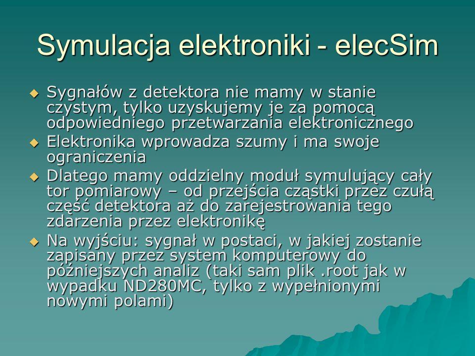 Symulacja elektroniki - elecSim Sygnałów z detektora nie mamy w stanie czystym, tylko uzyskujemy je za pomocą odpowiedniego przetwarzania elektronicznego Sygnałów z detektora nie mamy w stanie czystym, tylko uzyskujemy je za pomocą odpowiedniego przetwarzania elektronicznego Elektronika wprowadza szumy i ma swoje ograniczenia Elektronika wprowadza szumy i ma swoje ograniczenia Dlatego mamy oddzielny moduł symulujący cały tor pomiarowy – od przejścia cząstki przez czułą część detektora aż do zarejestrowania tego zdarzenia przez elektronikę Dlatego mamy oddzielny moduł symulujący cały tor pomiarowy – od przejścia cząstki przez czułą część detektora aż do zarejestrowania tego zdarzenia przez elektronikę Na wyjściu: sygnał w postaci, w jakiej zostanie zapisany przez system komputerowy do późniejszych analiz (taki sam plik.root jak w wypadku ND280MC, tylko z wypełnionymi nowymi polami) Na wyjściu: sygnał w postaci, w jakiej zostanie zapisany przez system komputerowy do późniejszych analiz (taki sam plik.root jak w wypadku ND280MC, tylko z wypełnionymi nowymi polami)