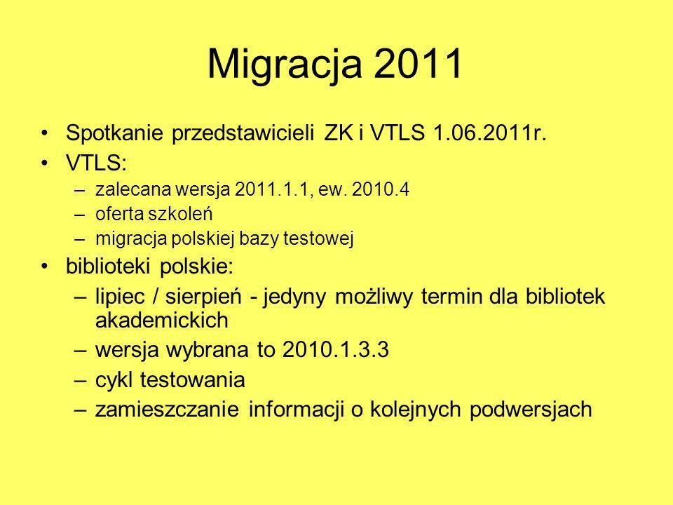 Migracja 2011 Ustalenia – MY: w 2011 migrujemy zgodnie z ustalonym harmonogramem w kolejnych latach - ostatnia wersja poprzedniego roku, np.