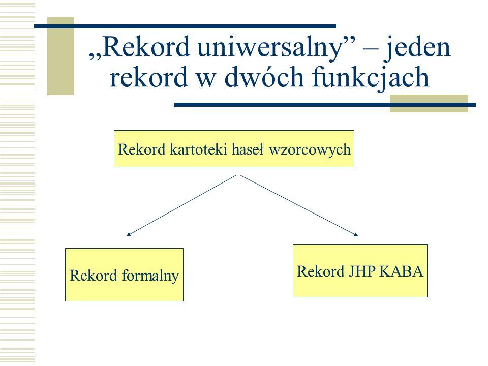 Rekord uniwersalny – jeden rekord w dwóch funkcjach Rekord kartoteki haseł wzorcowych Rekord formalny Rekord JHP KABA