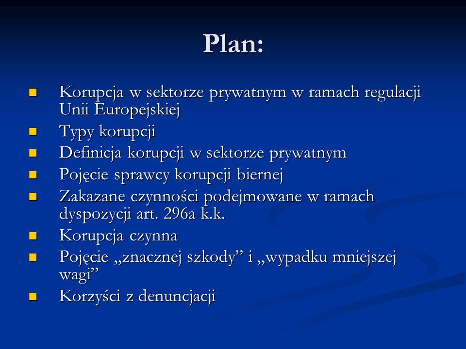 Plan: Korupcja w sektorze prywatnym w ramach regulacji Unii Europejskiej Korupcja w sektorze prywatnym w ramach regulacji Unii Europejskiej Typy korup