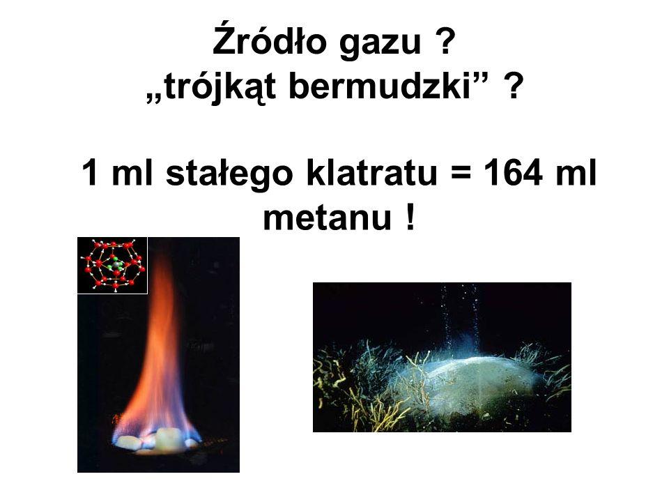 Źródło gazu ? trójkąt bermudzki ? 1 ml stałego klatratu = 164 ml metanu !