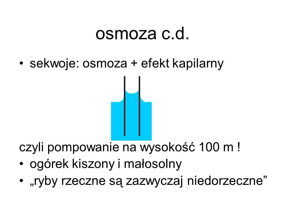 osmoza c.d. sekwoje: osmoza + efekt kapilarny czyli pompowanie na wysokość 100 m ! ogórek kiszony i małosolny ryby rzeczne są zazwyczaj niedorzeczne