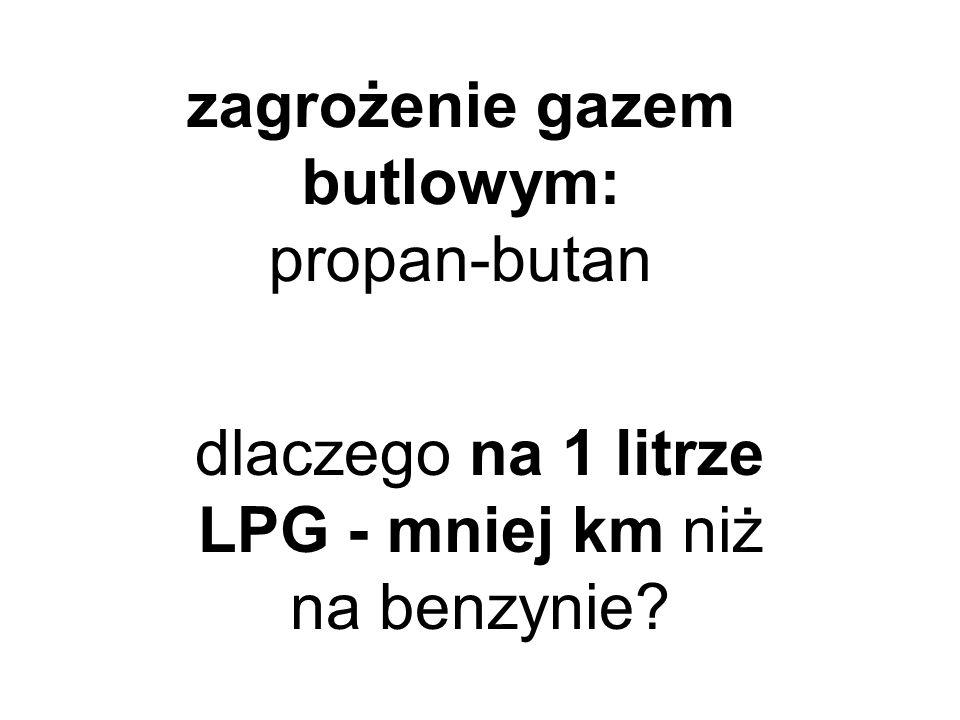 zagrożenie gazem butlowym: propan-butan dlaczego na 1 litrze LPG - mniej km niż na benzynie?