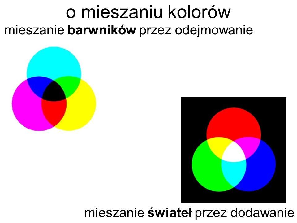 o mieszaniu kolorów mieszanie barwników przez odejmowanie mieszanie świateł przez dodawanie