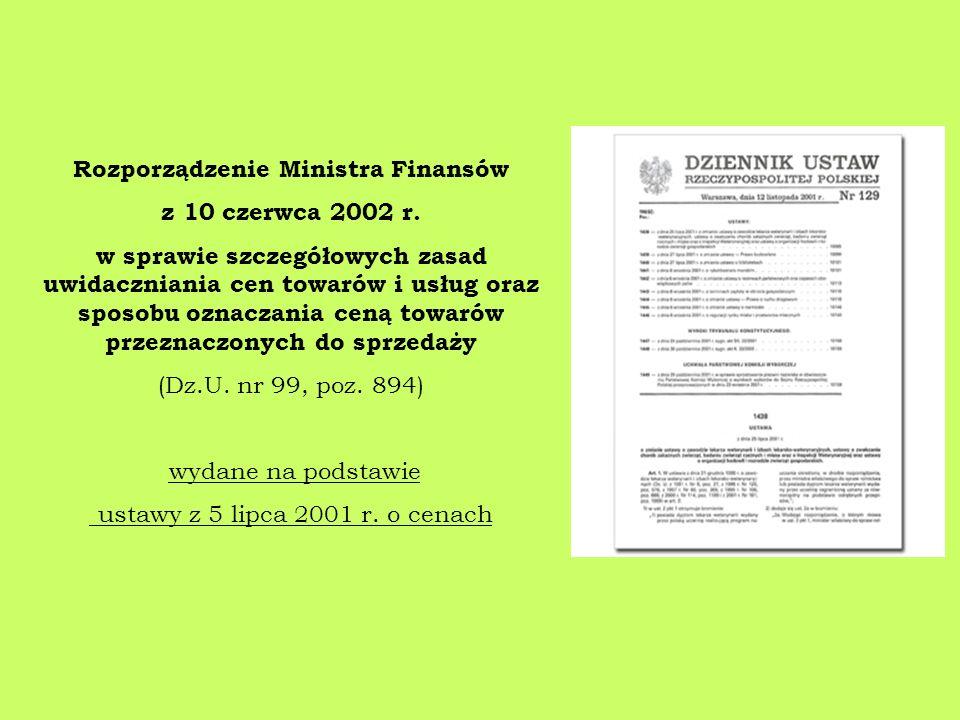 Rozporządzenie Ministra Finansów z 10 czerwca 2002 r.