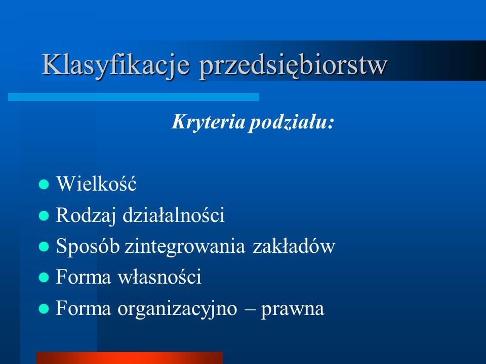 Klasyfikacje przedsiębiorstw Kryteria podziału: Wielkość Rodzaj działalności Sposób zintegrowania zakładów Forma własności Forma organizacyjno – prawn