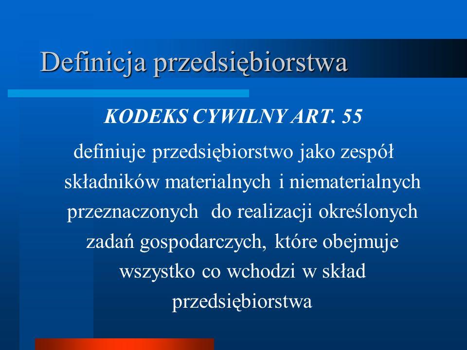 Definicja przedsiębiorstwa KODEKS CYWILNY ART. 55 definiuje przedsiębiorstwo jako zespół składników materialnych i niematerialnych przeznaczonych do r