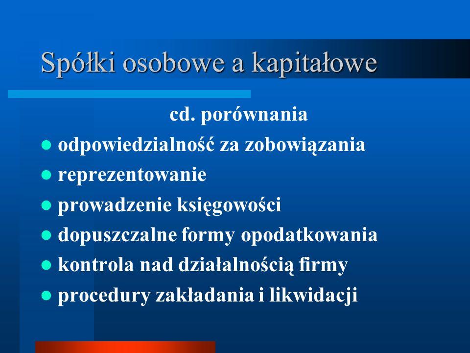Spółki osobowe a kapitałowe cd. porównania odpowiedzialność za zobowiązania reprezentowanie prowadzenie księgowości dopuszczalne formy opodatkowania k