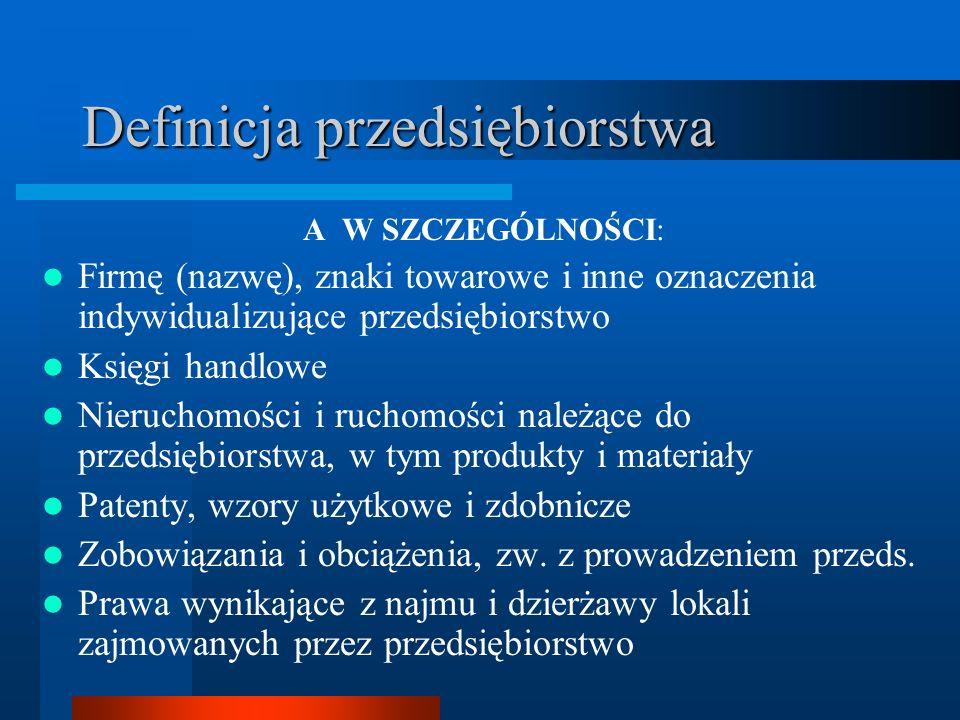 Definicja przedsiębiorstwa A W SZCZEGÓLNOŚCI: Firmę (nazwę), znaki towarowe i inne oznaczenia indywidualizujące przedsiębiorstwo Księgi handlowe Nieru