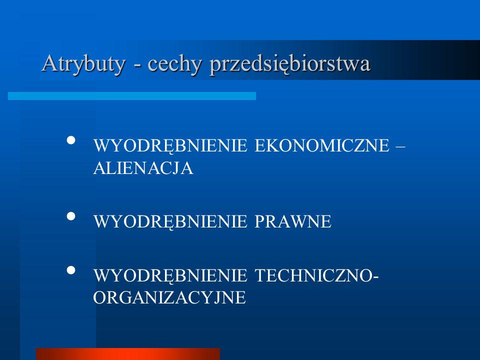 Atrybuty - cechy przedsiębiorstwa WYODRĘBNIENIE EKONOMICZNE – ALIENACJA WYODRĘBNIENIE PRAWNE WYODRĘBNIENIE TECHNICZNO- ORGANIZACYJNE