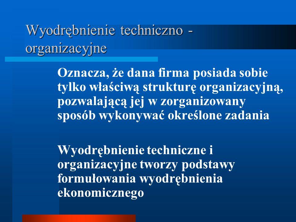 Wyodrębnienie techniczno - organizacyjne Oznacza, że dana firma posiada sobie tylko właściwą strukturę organizacyjną, pozwalającą jej w zorganizowany