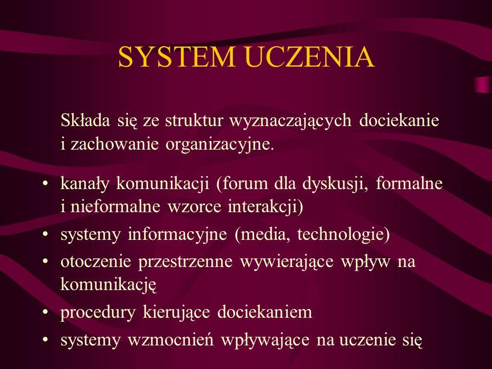 SYSTEM UCZENIA Składa się ze struktur wyznaczających dociekanie i zachowanie organizacyjne. kanały komunikacji (forum dla dyskusji, formalne i nieform
