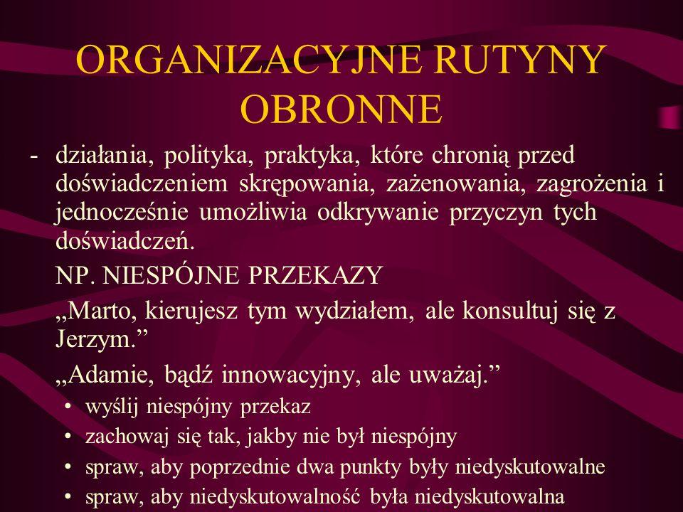 ORGANIZACYJNE RUTYNY OBRONNE -działania, polityka, praktyka, które chronią przed doświadczeniem skrępowania, zażenowania, zagrożenia i jednocześnie um