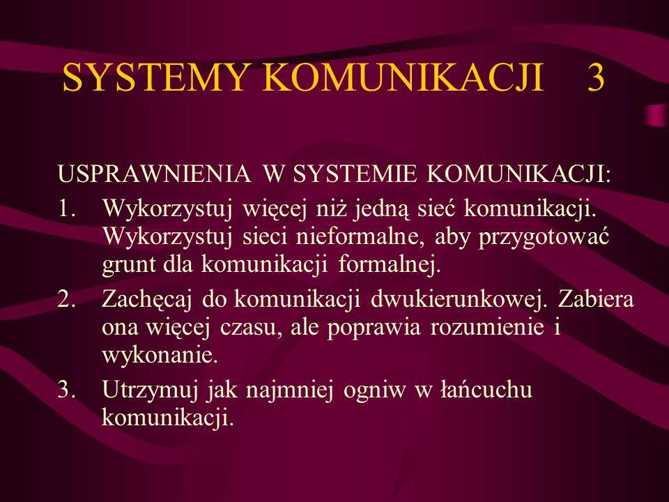 SYSTEMY KOMUNIKACJI 3 USPRAWNIENIA W SYSTEMIE KOMUNIKACJI: 1.Wykorzystuj więcej niż jedną sieć komunikacji. Wykorzystuj sieci nieformalne, aby przygot