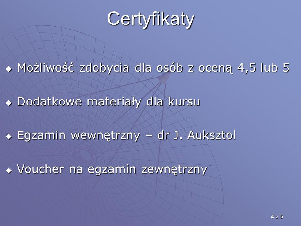 4 z 5 Certyfikaty Możliwość zdobycia dla osób z oceną 4,5 lub 5 Możliwość zdobycia dla osób z oceną 4,5 lub 5 Dodatkowe materiały dla kursu Dodatkowe
