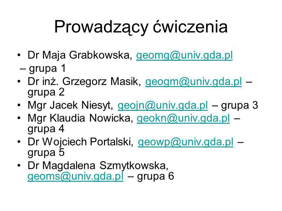 Prowadzący ćwiczenia Dr Maja Grabkowska, geomg@univ.gda.plgeomg@univ.gda.pl – grupa 1 Dr inż. Grzegorz Masik, geogm@univ.gda.pl – grupa 2geogm@univ.gd
