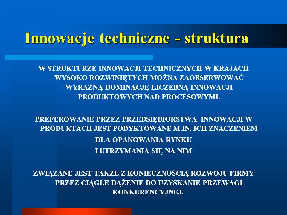 Innowacje techniczne - struktura W STRUKTURZE INNOWACJI TECHNICZNYCH W KRAJACH WYSOKO ROZWINIĘTYCH MOŻNA ZAOBSERWOWAĆ WYRAŹNĄ DOMINACJĘ LICZEBNĄ INNOW