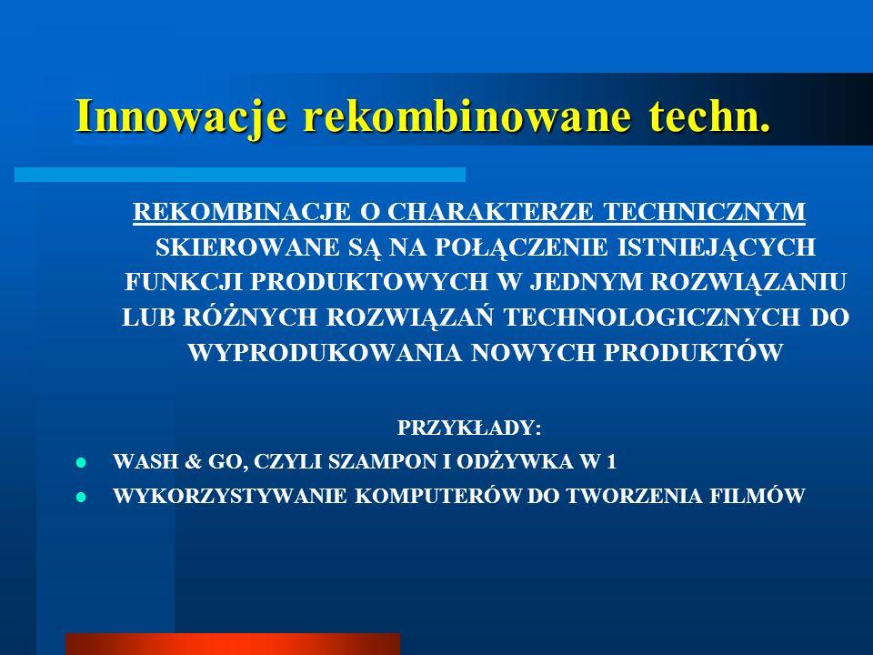 Innowacje rekombinowane techn. REKOMBINACJE O CHARAKTERZE TECHNICZNYM SKIEROWANE SĄ NA POŁĄCZENIE ISTNIEJĄCYCH FUNKCJI PRODUKTOWYCH W JEDNYM ROZWIĄZAN