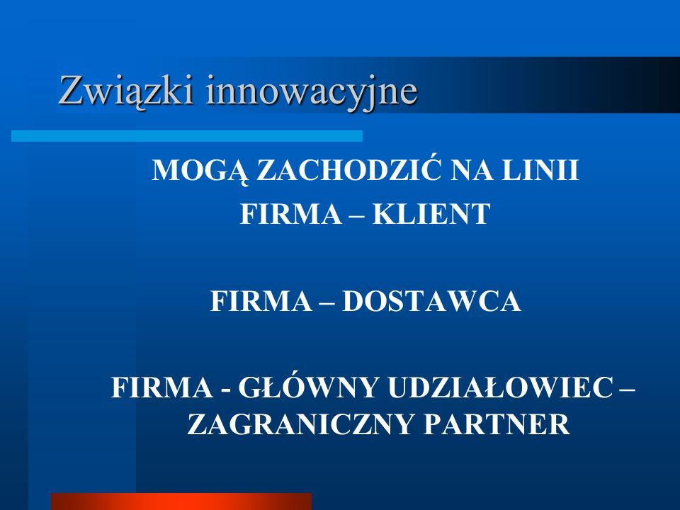 Związki innowacyjne MOGĄ ZACHODZIĆ NA LINII FIRMA – KLIENT FIRMA – DOSTAWCA FIRMA - GŁÓWNY UDZIAŁOWIEC – ZAGRANICZNY PARTNER
