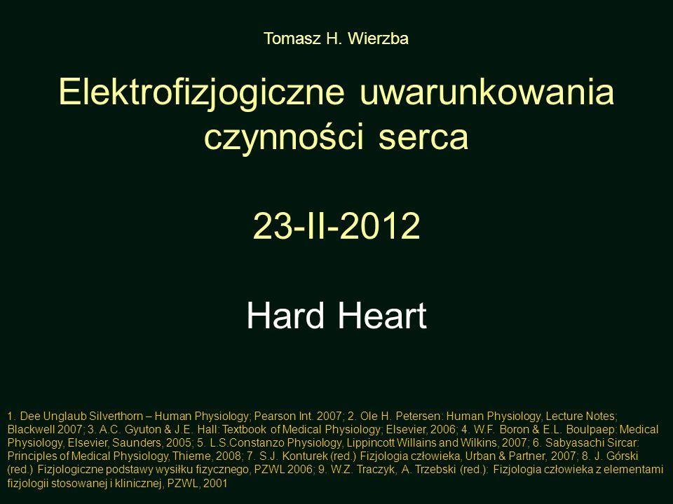 Tomasz H. Wierzba Elektrofizjogiczne uwarunkowania czynności serca 23-II-2012 Hard Heart 1. Dee Unglaub Silverthorn – Human Physiology; Pearson Int. 2