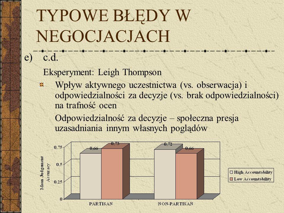 TYPOWE BŁĘDY W NEGOCJACJACH e)c.d. Eksperyment: Leigh Thompson Wpływ aktywnego uczestnictwa (vs. obserwacja) i odpowiedzialności za decyzje (vs. brak
