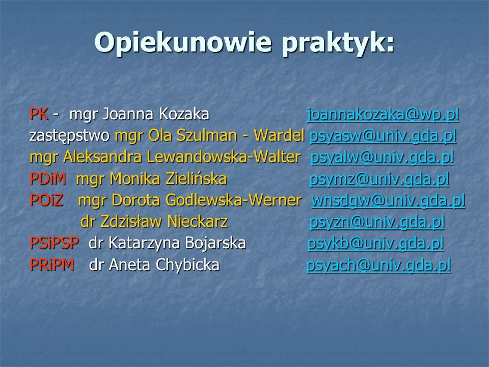 Opiekunowie praktyk: PK - mgr Joanna Kozaka joannakozaka@wp.pl joannakozaka@wp.pl zastępstwo mgr Ola Szulman - Wardel psyasw@univ.gda.pl psyasw@univ.g