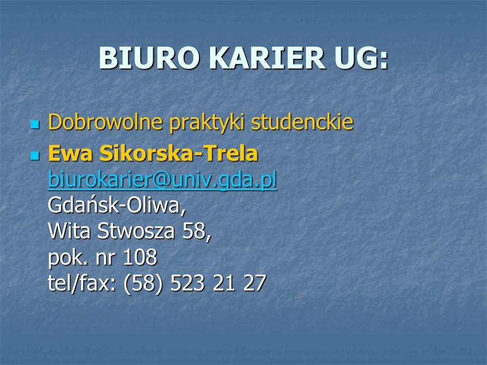 BIURO KARIER UG: Dobrowolne praktyki studenckie Dobrowolne praktyki studenckie Ewa Sikorska-Trela biurokarier@univ.gda.pl Gdańsk-Oliwa, Wita Stwosza 5