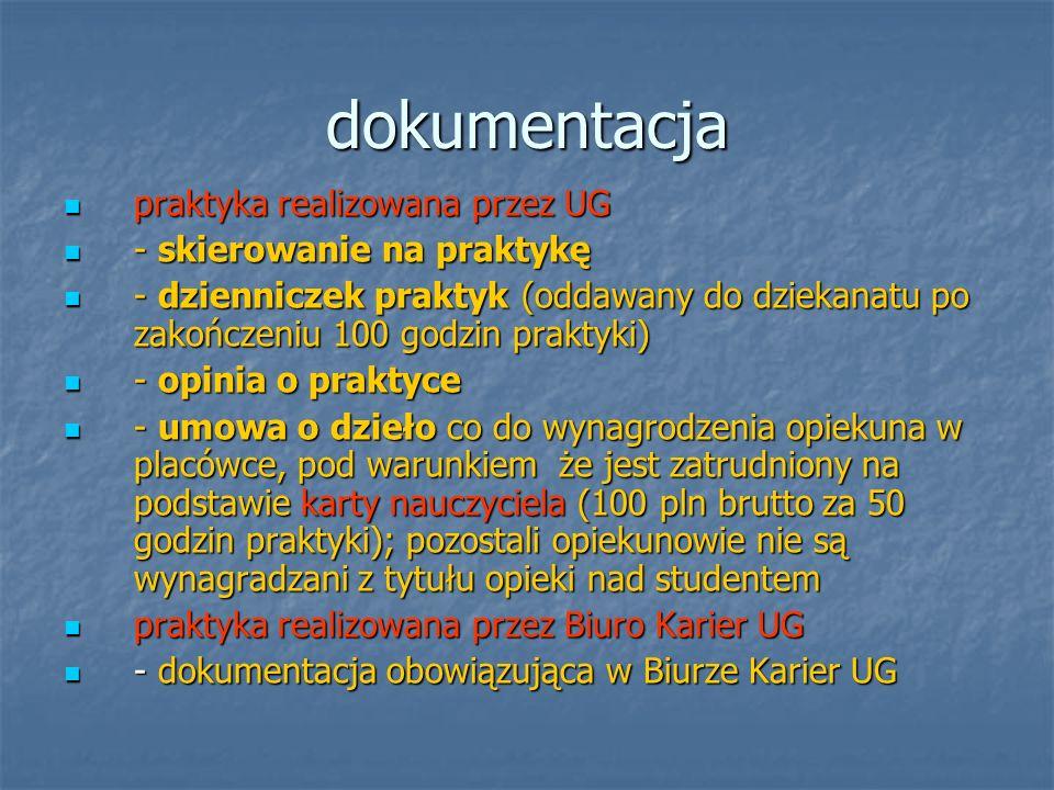 dokumentacja praktyka realizowana przez UG praktyka realizowana przez UG - skierowanie na praktykę - skierowanie na praktykę - dzienniczek praktyk (od